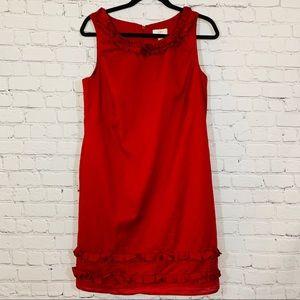 Loft   Red 💯 Cotton  Shift Dress Size 6